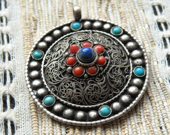 Ront filigree crafted Medallion from coral & turquoise Lapis LAZULI pendant TIBETgalerie