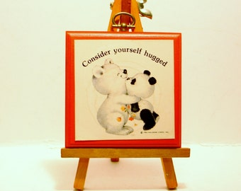 "Hallmark Cards Plaque, ""Consider Yourself Hugged"" Made in USA 1984"