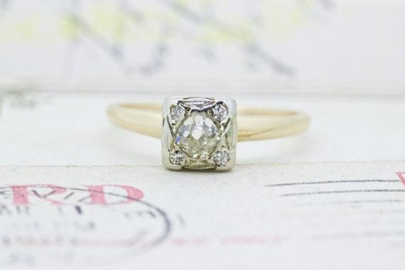 Antique Engagement Ring Unique Diamond Ring 14k Yellow