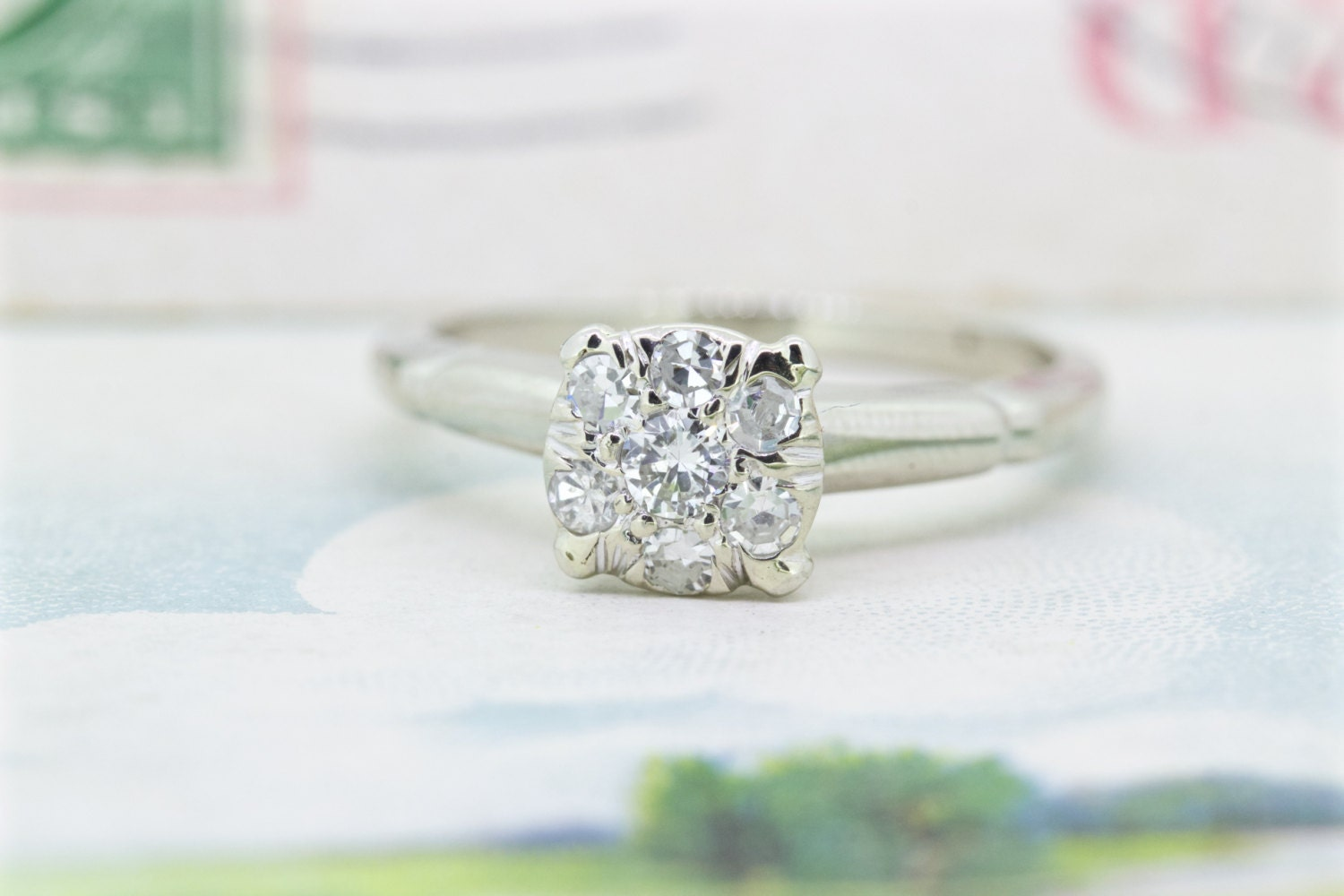 dainty engagement ring vintage by fergusonsfinejewelry