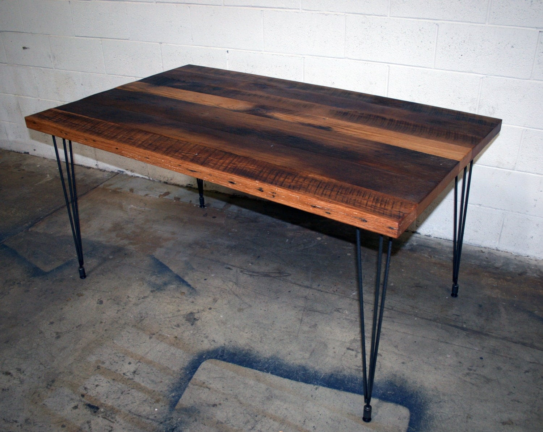 Antique Tobacco Oak Table with Steel Hairpin Legs tags: reclaimed oak dinning table steel legs