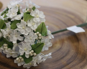 Small White Flower Bunches/ Fabric Flowers/ Favors/ DIY/ Wired Flowers