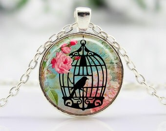 Birdcage Necklace Vintage Style Art Pendant Birdcage Silhouette Cabochon Necklace CN470