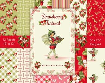 Strawberry Festival & Bonus Vintage Fairy Art | Digital Backgrounds Paper Pack | Instant Download