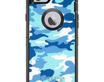 Custom OtterBox Defender Case for Apple iPhone 6 4.7 OR 6 Plus 5.5 -  Name Any Color Personalized Monogram - Blue White Camouflage