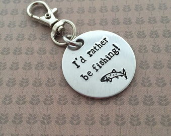 I'd rather be fishing- hand stamped keychain, trout, salmon, personalised, key ring