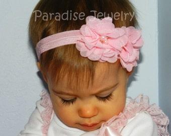 Headband Beaded Chiffon Double Flower Hair Bow Rhinestone Center Hairband On Fold Over Elastic Choose Your Color Baby Girls Party Headband