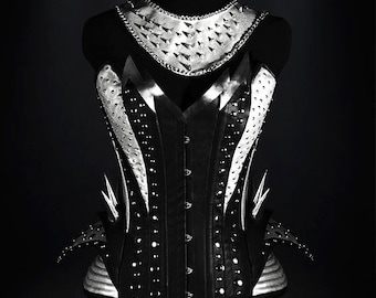 KISS Rock Corset, steel boned in rose red end black ecoleather, with studs and chains, rockstar clothing