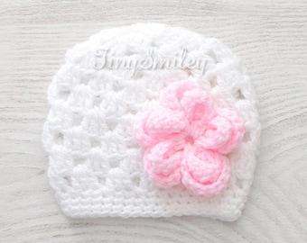 Crochet Baby Girl Hat, White Baby Hat, Crochet Baby Hat, Photo Prop, White Crochet Baby Girl Beanie, White Baby Beanie