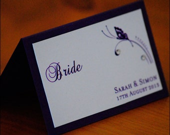 Butterfly Wedding Place Cards with Crystals