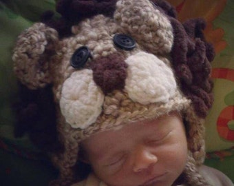 Crochet newborn lion hat
