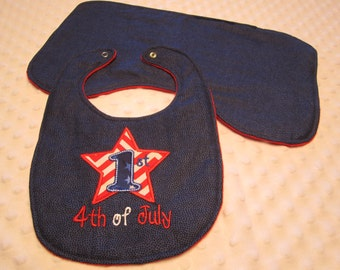 """Ready to Ship 1st 4th of July Baby Bib and Burp Cloth Set """"Neutral"""" Baby Boy or Girl with Red Star Appliqued ~ Soft Minky Dot Fabric"""