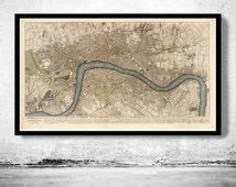 Beautiful Old London Map 1749, England United Kingdom