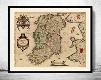 Vintage Map of Ireland 1640 Beautiful Antique map of Ireland