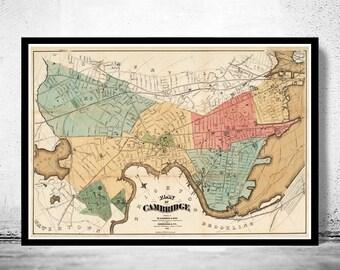 Old Map of Cambridge,  Massachusetts 1878