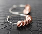 315 Bohemian Rose Gold Ruffle Hoop Earrings with Sterling Silver - dainty minimalist jewelry by lustre