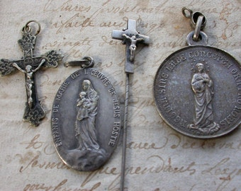 4pc antique 19th century sterling silver medal cross crucifix First Communion large sterling ornate lys st spirit crucifix Mary Jesus brooch