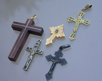 French antique Vintage cross lot 5 crucifix  Wood  engraved mosaic bronze crucifix  hand carved ornate Lys flower jesus ornate rosary cross