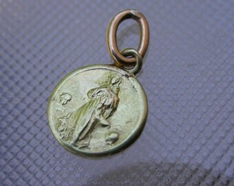 Antique French 18K yellow solid gold  medal religious St Maria angels 18k gold reliquary virgin mary