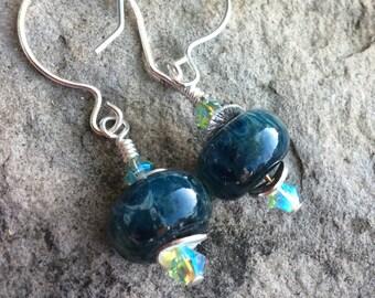 Earrings - Dark SpeckledTeal Beads