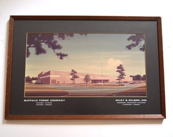 Architectural Print - Vintage Mid Century Modern Print of Buffalo Forge Company in Amherst Virginia