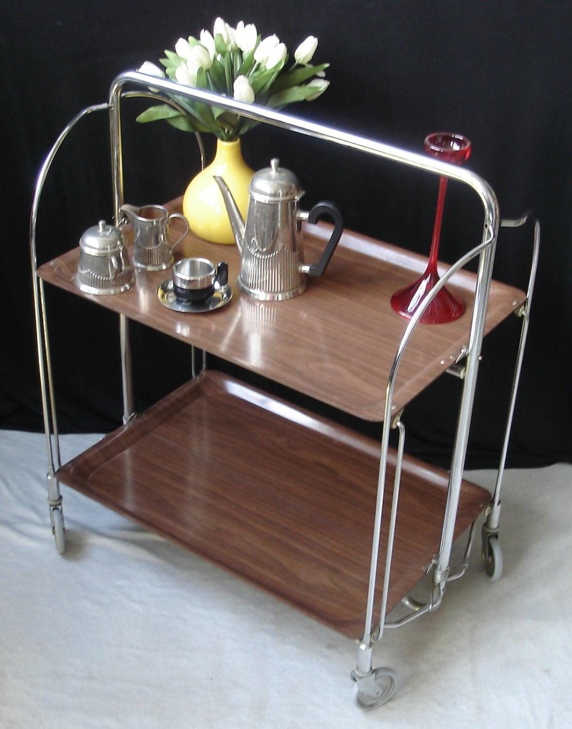 60s Fold N Roll Convertible Serving Table Trolley Bremshey Dinett Mid Century Modern Germany