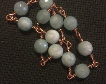 Pale Blue Topaz & Copper Bracelet