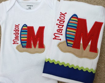 Baby Boy Bodysuit Set - Baby Boy Beach Set - Baby Clothes - Personalized Baby Bodysuit - Monogrammed Baby Clothes - Surfboard - Beach