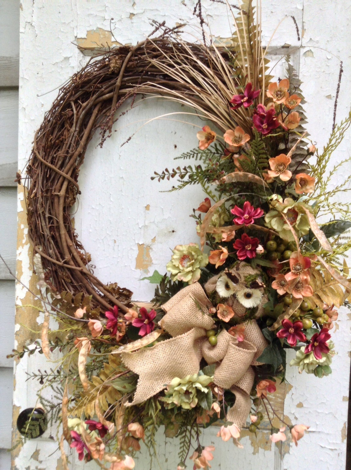 Large fall wreath for door autumn wreath for door owl Fall autumn door wreaths