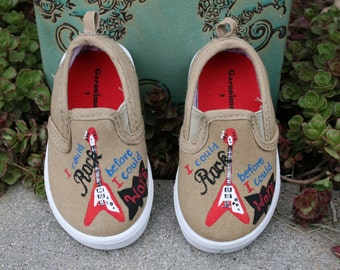 Boys sneakers HAND PAINTED CUSTOM Canvas shoes baby or toddler, kids, guitar shoes, rock n roll shoes Toddler and Children Sizes