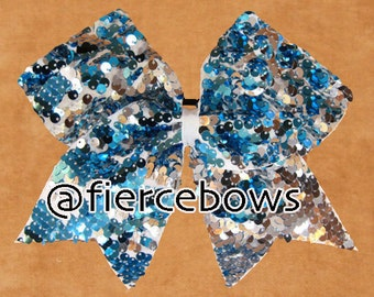 Turquoise Reversible Sequin Cheer Bow