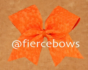 Neon Orange Rain Sequin Cheer Bow