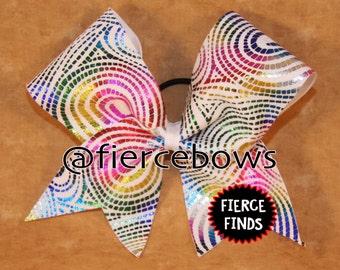 Metallic Rainbow Swirls Cheer Bow