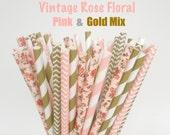 Paper Straws / Vintage Floral, Pink & Gold Mix / Drinking Straws Mason Jar Straws  Low shipping rates Choose 25, 50, 75 or 100 Paper Straws