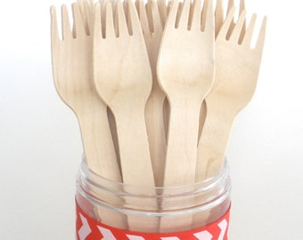 Wooden Forks 100 Pk /  Disposable Natural Wooden Utensils  Perfect for Stamping / Weddings / Birthdays / Made in the USA
