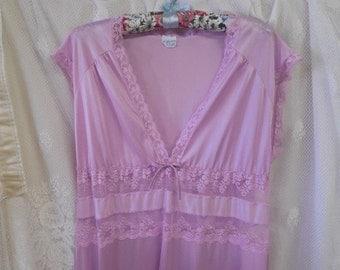 "vintage lingerie night gown lavendar nightgown sheer lingerie full length floor length nightie medium 34"" 36"""