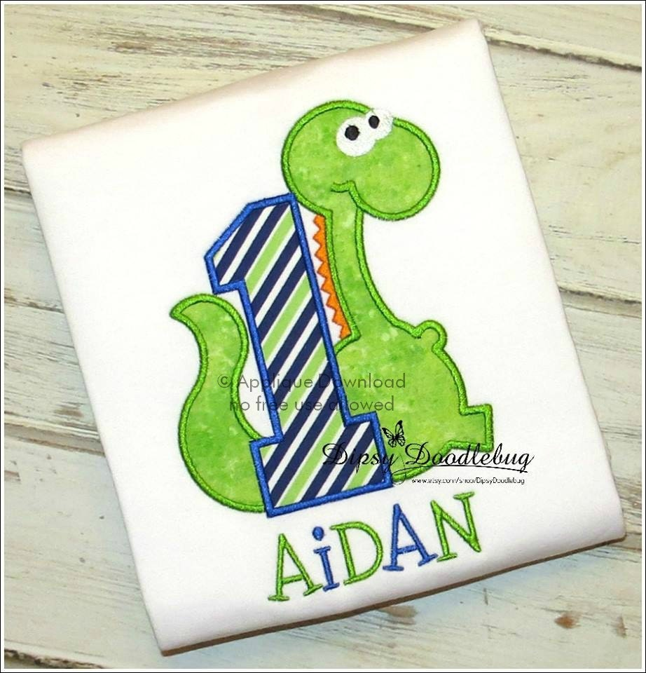 First birthday dinosaur applique design instant email with