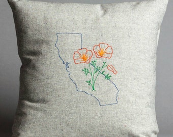 California Poppy Embroidered Pillow in Hemp and Organic Cotton