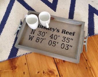 GPS Coordinates Wooden Tray - personalized nautical tray, personalized GPS Coordinates Gift, oersonalized Nautical Wedding decor
