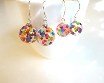 Sprinkle Earrings Resin Ball Jewelry Fun Jewelry Gift Resin Sprinkle Clear Ball Dangle Colorful Resin Ball Playful Jewelry Rainbow Earrings