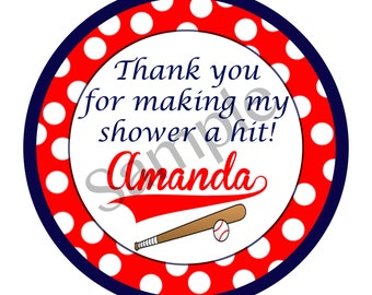 Thank you bridal shower tag baseball theme
