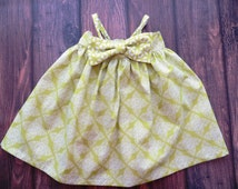 Baby girls Hattie summer floral dress with detachable bow, size 12-18 mo. & 18-24 mo, ready to ship!  Green and cream print.