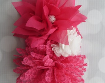 Girls floral headband with hot pink lace flower, white tulle flower and hot pink chiffon flower headband with bead detail, ready to ship!
