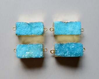 1pcs Rectangle Druzy Pendant with Electroplating Gold Edge Connector- B1224