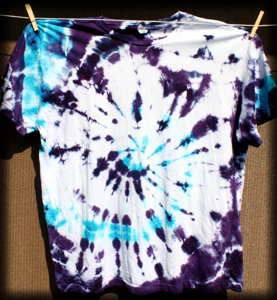 Hand Dyed Deep Purple & Aqua  Spiral Adult Tie Dye T-Shirt