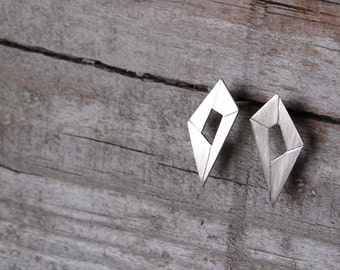 Silver geometric stud earrings, silver minimalist studs, faceted silver post earrings