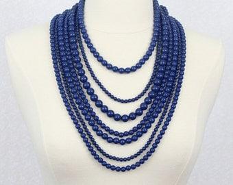 Multi Strand Statement Necklace Multi Layered Beads Necklace Chunky Necklace Chunky Beaded Necklace Navy Blue