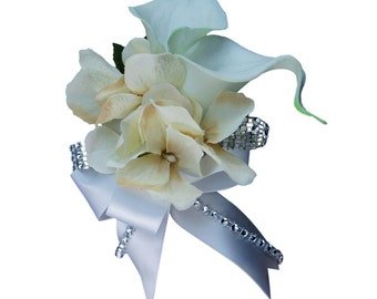 Wrist Corsage-Pick Hydrangea color and Ribbon color.