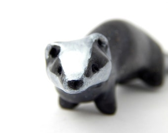 Playful Badger, Black and White Badger, Hand-Sculpted Polymer Clay Fairy Garden Figurine