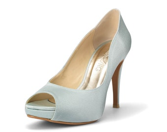 Something Blue Wedding Heels, Blue Satin Bridal Peep Toe Heels, Powder Blue Wedding Heels, Blue High Heel Satin Evening Shoes